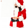 Christmas girl holding add — Stock Photo #7643644