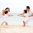 Family having fun - beach — Stock Photo