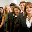 Foto Stock: Business womand her team