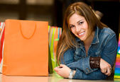 Casual woman with shopping bags — Foto de Stock