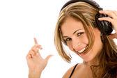 женщина, слушающая музыку — Стоковое фото