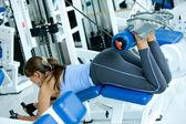 Woman doing exercise — Stock Photo