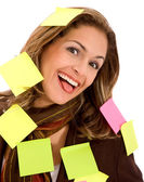 Business woman - post its — Stock Photo
