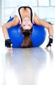 Gym woman doing pilates — ストック写真