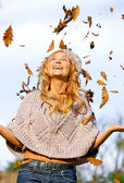 Autumn woman having fun — Stock Photo