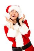Christmas girl surprised — Стоковое фото