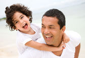 Father and son smiling — Stockfoto