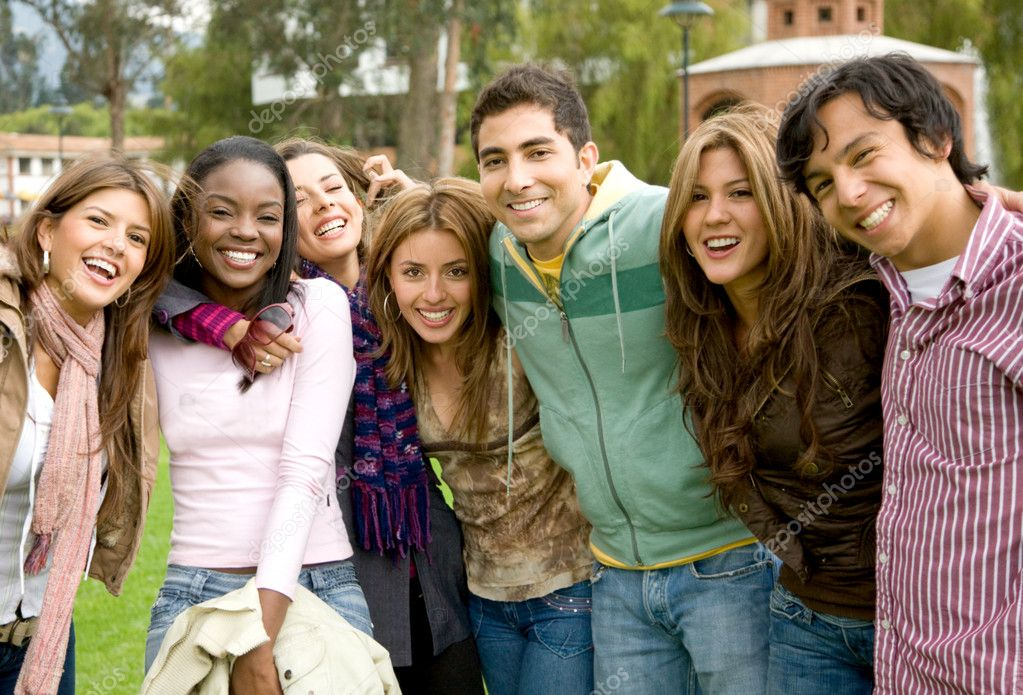 Happy group of young at a university college — Stock Photo #7642826