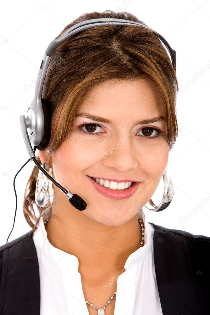 Business customer support operator woman smiling - isolated  Foto Stock #7642886
