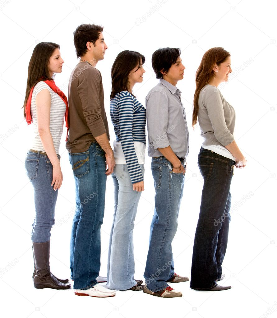 Group of in a queue isolated over a white background — Stock Photo #7643191