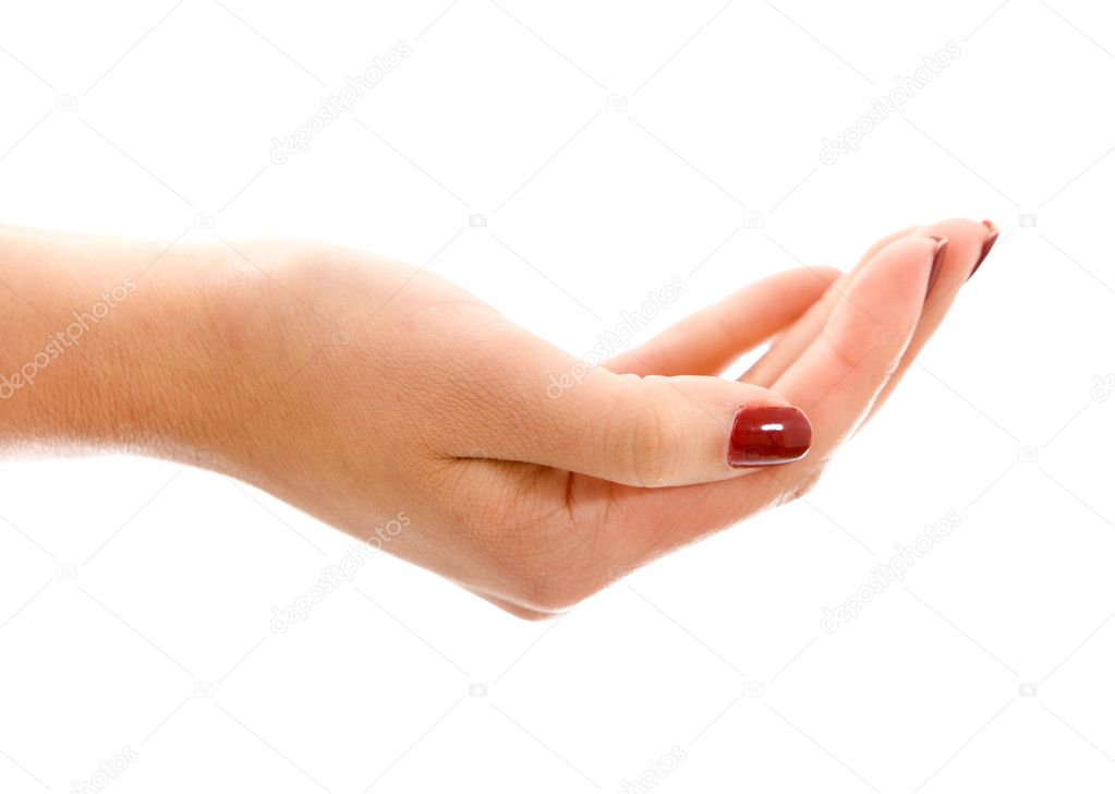 Hand holding something isolated over a white background — Stock Photo #7643429