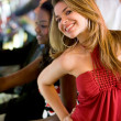 Happy casino woman — Stock Photo