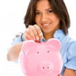 Royalty-Free Stock Photo: Woman with a piggybank