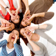 Group of friends shouting — Stock Photo