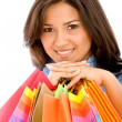 Casual woman with shopping bags — Foto Stock