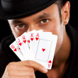 Magician with cards — 图库照片