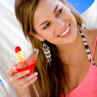 Woman having a cocktail drink — Stock Photo