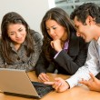 Stock Photo: Business team on laptop