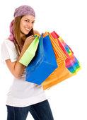Kobieta z torebkami — Zdjęcie stockowe