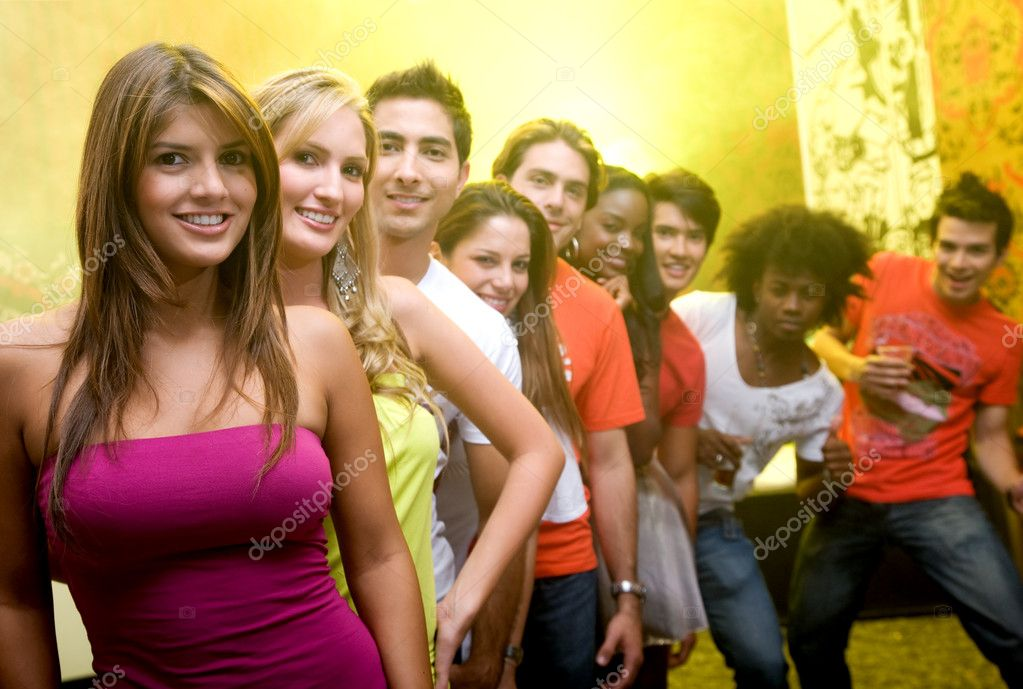 Group of in a bar or nightclub at a party  Stock Photo #7654021
