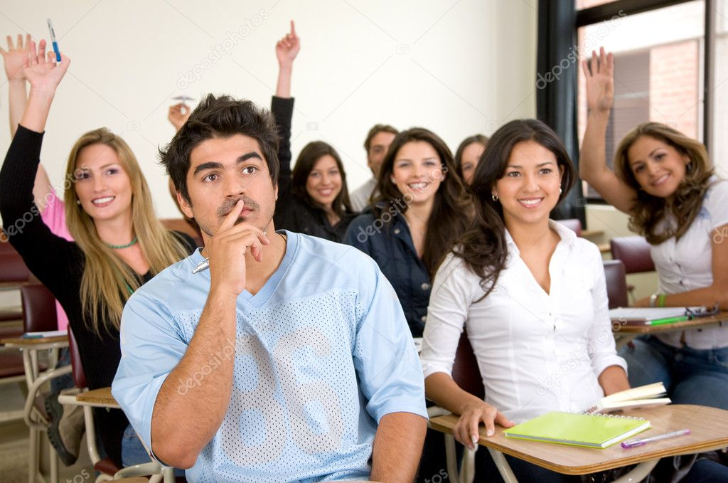 Friends or university students in a classroom  Stock Photo #7654312