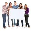 Group with a banner — Stock Photo #7700835