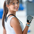 Womlifting free weights — Stock Photo #7700943