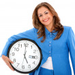 Woman with clock — Foto Stock