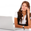 Business customer service woman on a laptop - Stock Photo