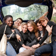 Friends in a car — Stock Photo