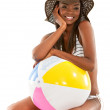 Royalty-Free Stock Photo: Beautiful bikini girl with a beach ball