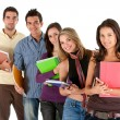 Students with notebooks — Stock Photo