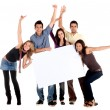 Friends with a banner — Foto de Stock