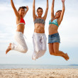 Stock Photo: Beach jump