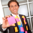 Stock Photo: Business m- post its