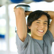 Man with free weights — Stock Photo