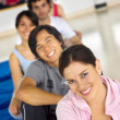 Gym group smiling — Stock Photo