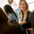 Woman in a classroom — Stock Photo