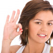 Stock Photo: Casual woman - Ok sign