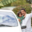 Father and son with a car - Stock Photo