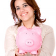 Stock Photo: Casual woman saving money