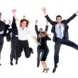 Business team jumping — Stock Photo