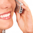 Girl on the phone - mouth close up — Stock Photo