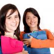 Beautiful young girls shopping — Stock Photo