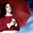 Girl with umbrellin bad weather day — Stock Photo #7705176