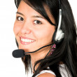 Casual girl with headset - Stock Photo