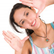 Stock Photo: Casual lovely girl - hands frame