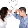 Stock Photo: Connected soulmates - heart shape of love