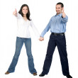 Beautiful couple thumbs up - Stock Photo