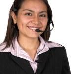 mooie klant ondersteuning vrouw — Stockfoto